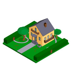 isometric cottage or small private house vector image