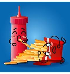 Ketchup and crying cartoon on fried potatoes box vector