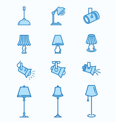 lighting flat line icons for graphic and web vector image