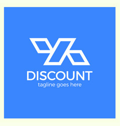 Line discount design of the percentage sign logo vector