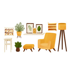 Living room furnishing elements and obgects with vector