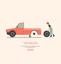 man worker changing tire vector image