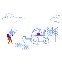 Men plowing field successful farming harvest vector