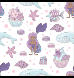 Mermaid and whale sea girl seamless pattern vector