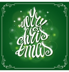 Merry Christmas Greeting CardFrame lettering vector image