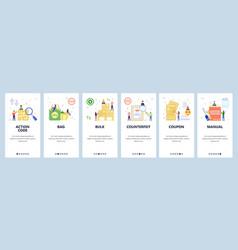 Mobile app onboarding screens guidebook qr code vector