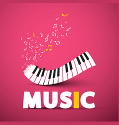 music poster design with piano keyboard on pink vector image