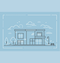 nice cottage - modern thin line design style vector image