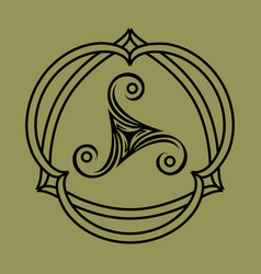 Pagan celtic symbol triskele in knotted frame vector