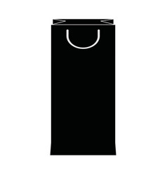 Paper shopping bag handle package silhouette vector