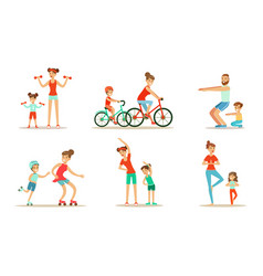 Parents with children doing sports exercises vector