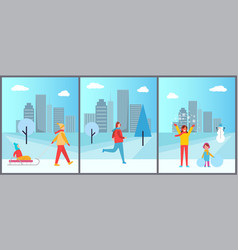 people and winter city set vector image
