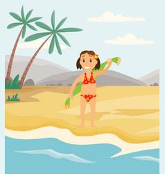 person is drying off with towel after swimming in vector image
