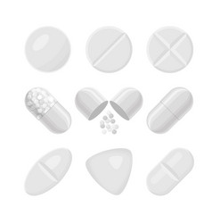 pills and drugs white realistic icon set vector image