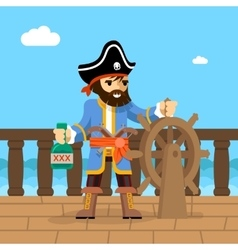 pirate filibuster captain at helm ship vector image