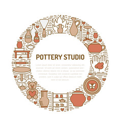 Pottery workshop ceramics classes banner vector