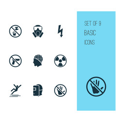 Protection icons set with forbidden icy surface vector