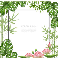 Realistic beautiful tropical plants template vector