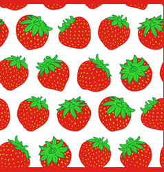 red strawberry seamless pattern on white vector image