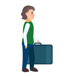 Refugee boy travel bag icon flat style vector