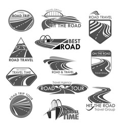 Road travel company agency template icons vector