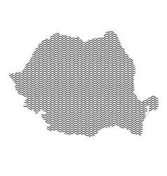Romania map country abstract silhouette of wavy vector