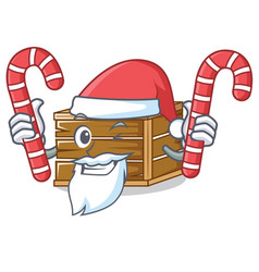 Santa with candy crate mascot cartoon style vector