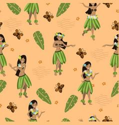 Seamless pattern with hawaiian girls image vector