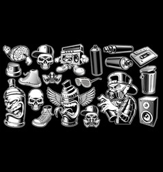 Set of black and white graffiti stickers vector