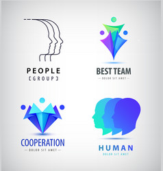 Set of human men logos creative group vector