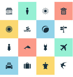 set simple seaside icons vector image