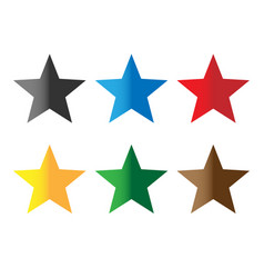 Set stars color on white background colorful vector