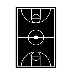 Silhouette monochrome with basketball field vector