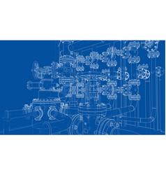 Sketch of industrial equipment vector