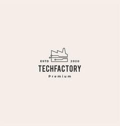 smart factory tech logo icon hipster vintage retro vector image