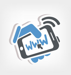 Smartphone connection web vector
