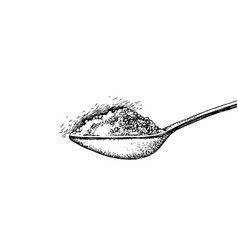 Spoon with sugar vector