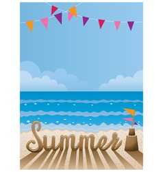 summer text made from sand on beach vector image