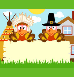 Thanksgiving day background with turkey indian vector