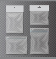 transparent plastic pocket bags set vector image