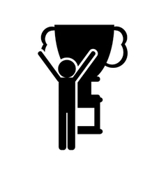 trophy cup and person pictogram icon vector image