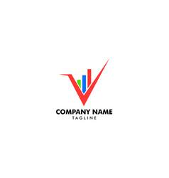 V letter business stats logo design element vector