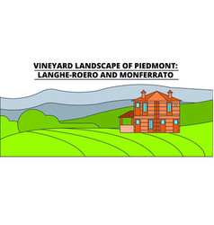 vineyard landscape of piedmont - langhe-roero and vector image