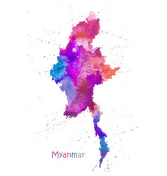 Watercolor map myanmar stylized image vector