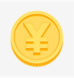Yen symbol on gold coin vector