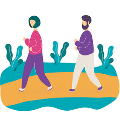 young couple jogging in park vector image