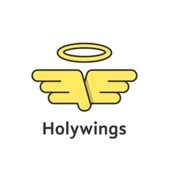 holy wings with yellow outline emblem vector image vector image