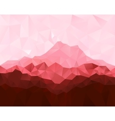 Low poly geometrical background with red mountains vector image vector image