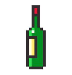 bottle of wine pixel art cartoon retro game style vector image