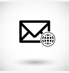 mail with globe flat icon vector image